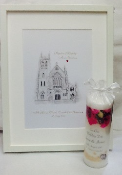 Personalised picture and candle