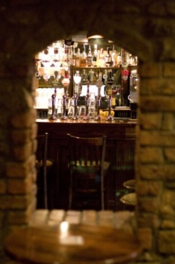 View of bar through arched window
