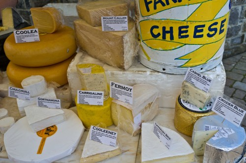 A selection of Irish cheeses at the Farmers Market