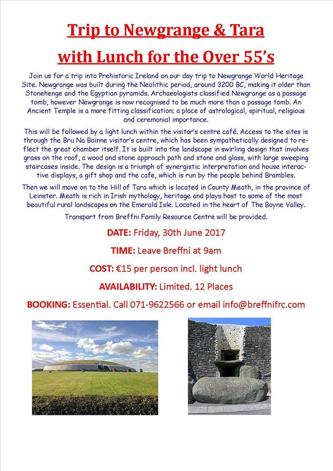 MyCarrick Event | Breffni Family Resource Centre : Trip to Newgrange & Tara with Lunch for Over 55