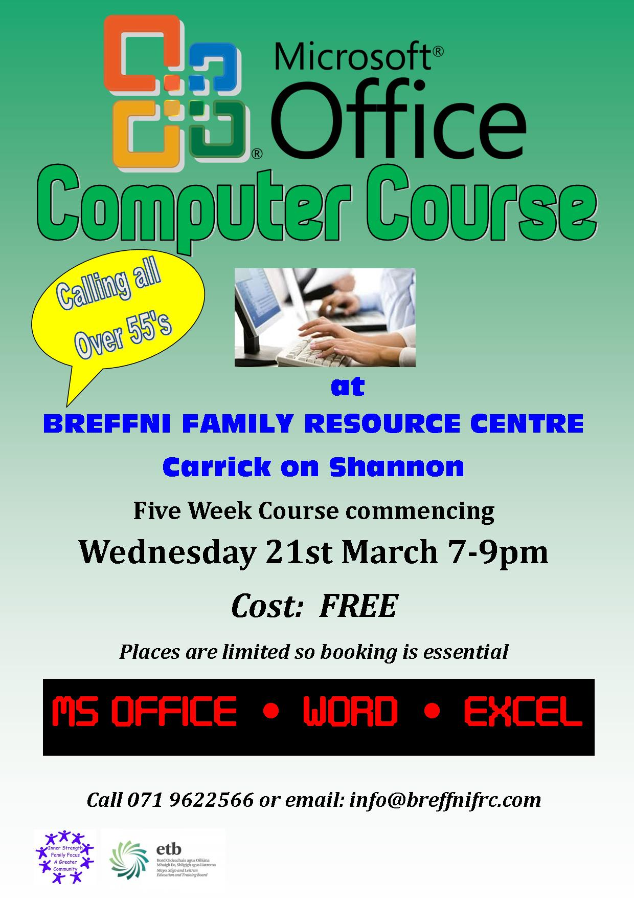 MyCarrick Event - Breffni Family Resource Centre - MS Office Compute Course