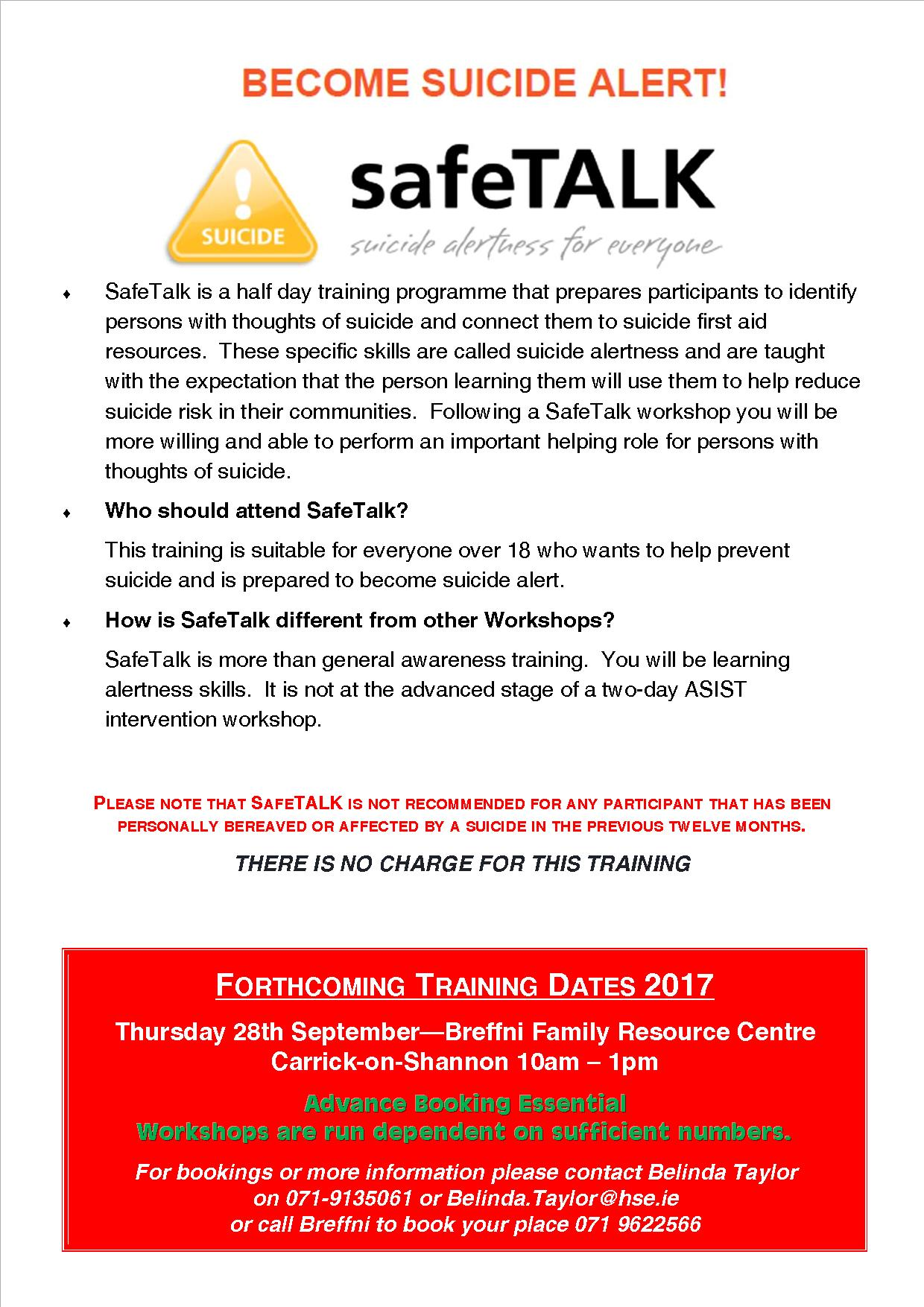 MyCarrick Event - Breffni Family Resource Centre - SafeTALK Training