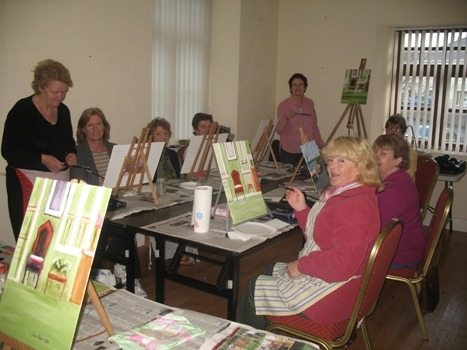 Noreen with ladies participating in her art class